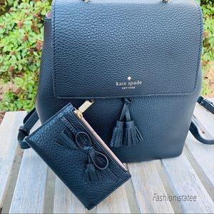 Kate spade medium Hayes black backpack wallet set